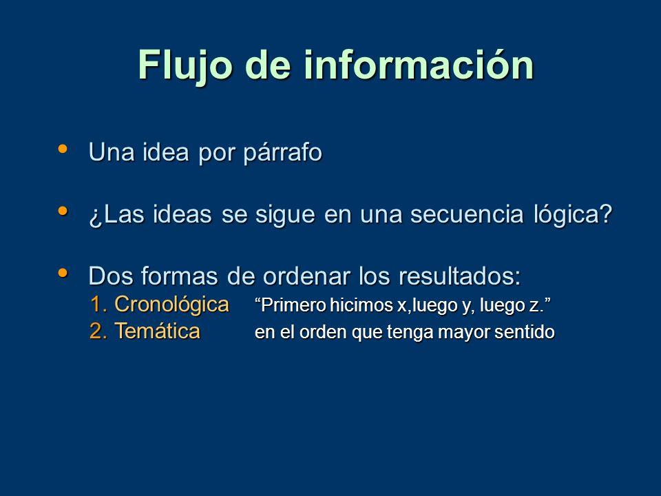 Flujo de información Una idea por párrafo