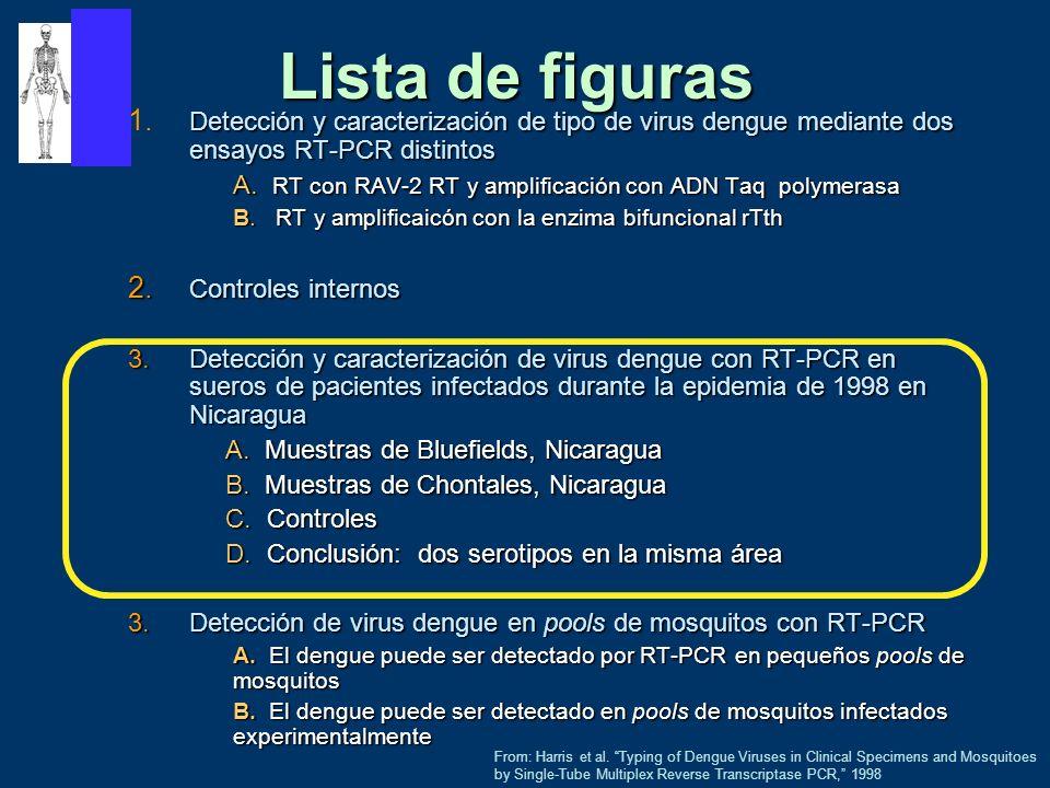 Lista de figuras 1. Detección y caracterización de tipo de virus dengue mediante dos ensayos RT‑PCR distintos.