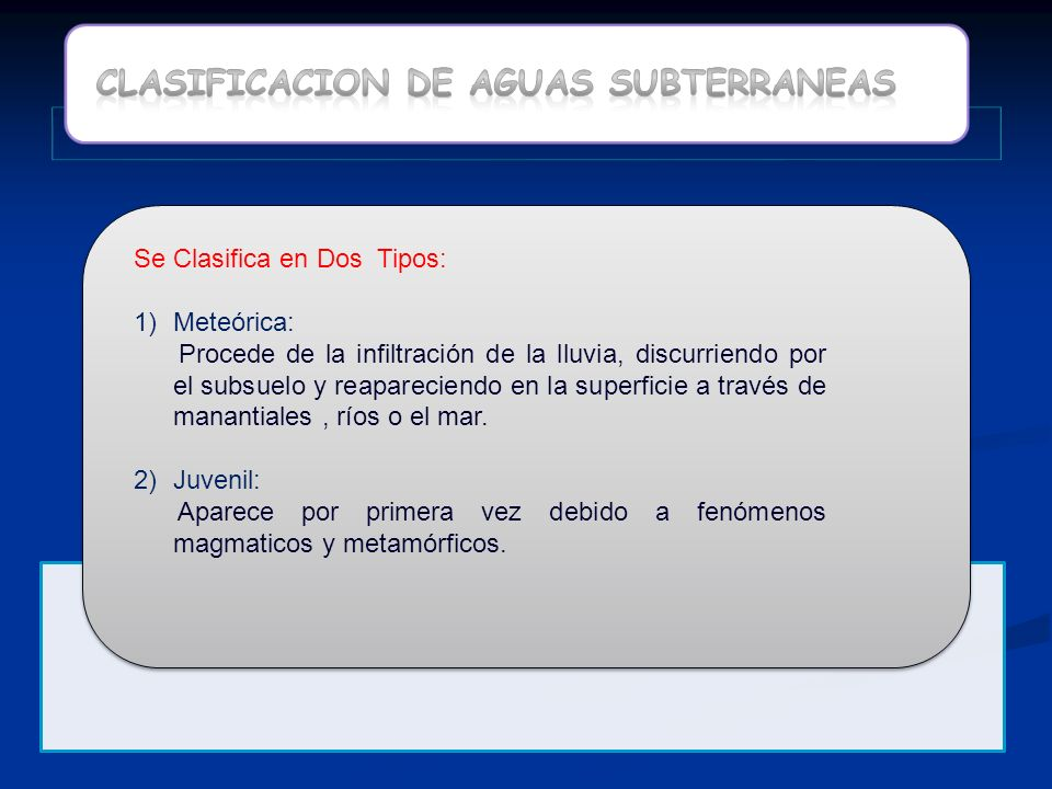 CLASIFICACION DE AGUAS SUBTERRANEAS