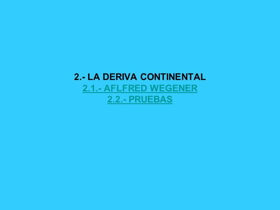 2.- LA DERIVA CONTINENTAL 2.1.- AFLFRED WEGENER 2.2.- PRUEBAS