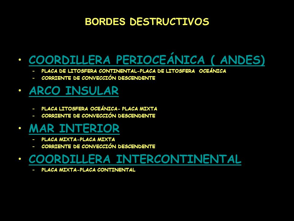 COORDILLERA PERIOCEÁNICA ( ANDES) ARCO INSULAR