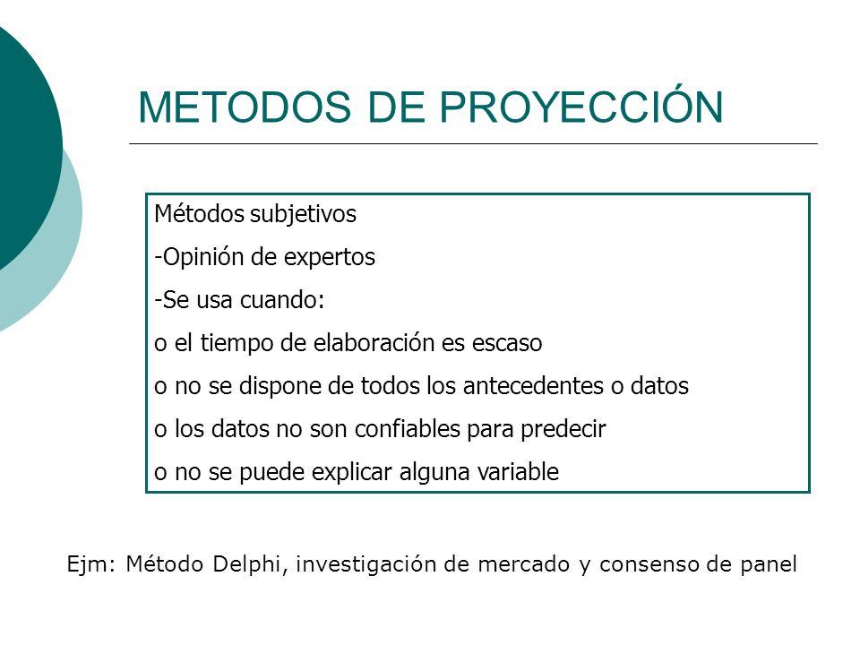 METODOS DE PROYECCIÓN Métodos subjetivos Opinión de expertos