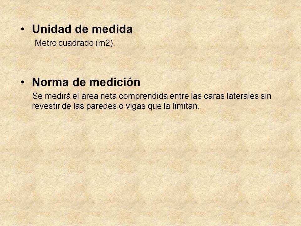 Unidad de medida Norma de medición Metro cuadrado (m2).