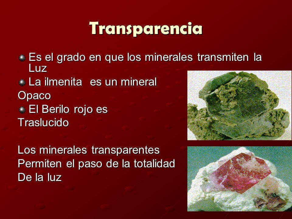 Transparencia Es el grado en que los minerales transmiten la Luz