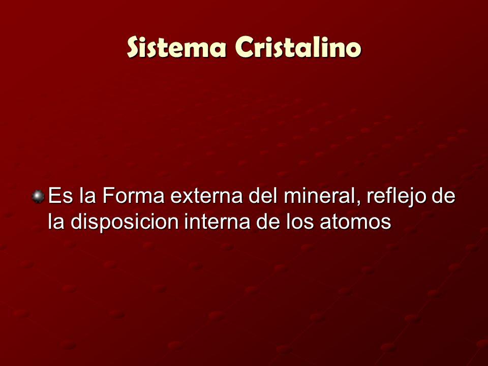 Sistema Cristalino Es la Forma externa del mineral, reflejo de la disposicion interna de los atomos