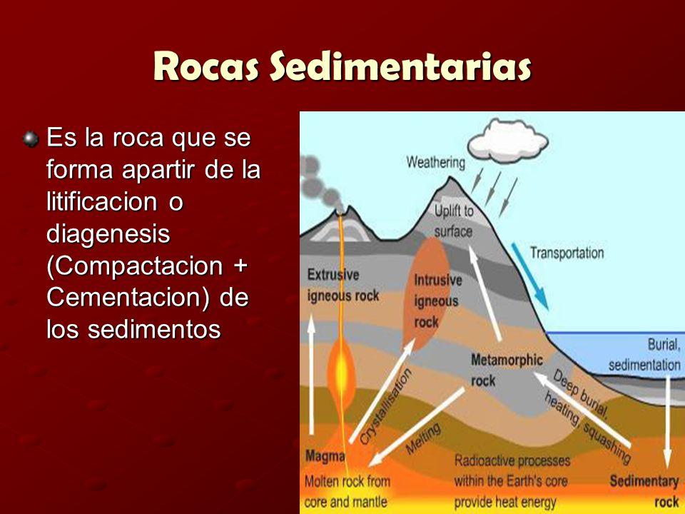 Rocas Sedimentarias Es la roca que se forma apartir de la litificacion o diagenesis (Compactacion + Cementacion) de los sedimentos.