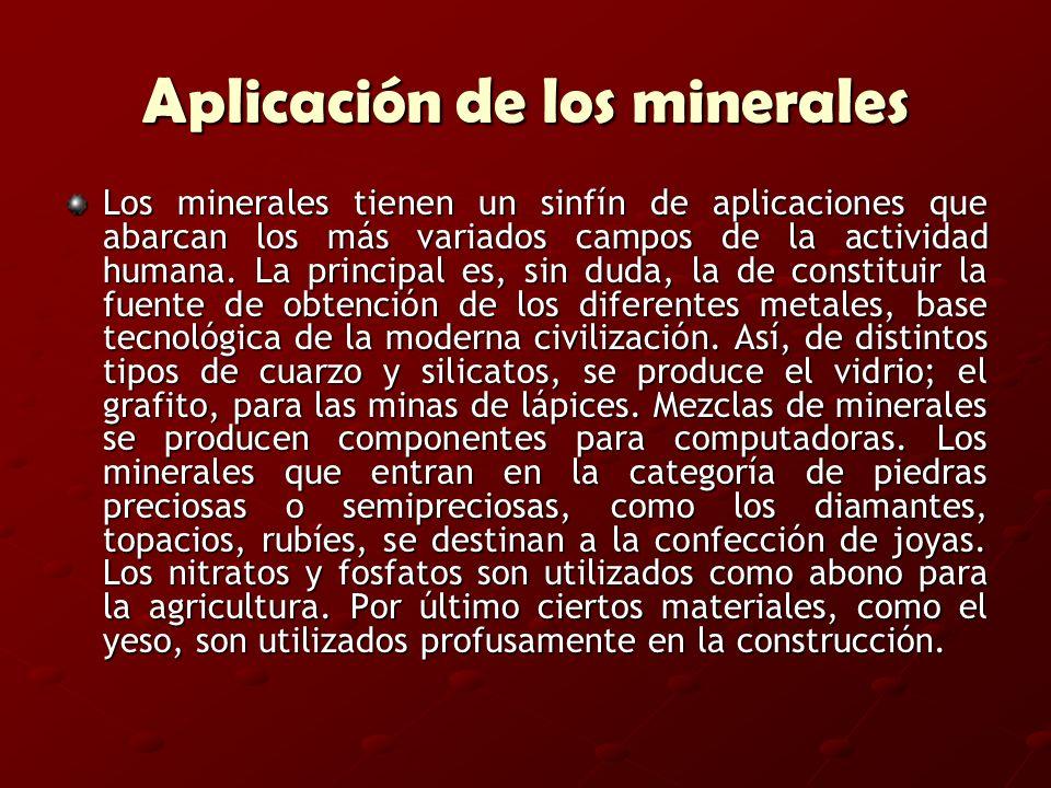 Aplicación de los minerales