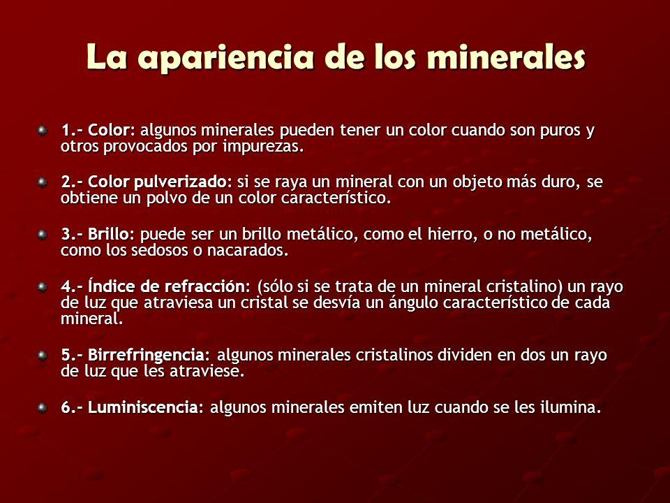 La apariencia de los minerales