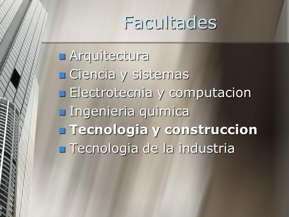 Facultades Arquitectura Ciencia y sistemas Electrotecnia y computacion