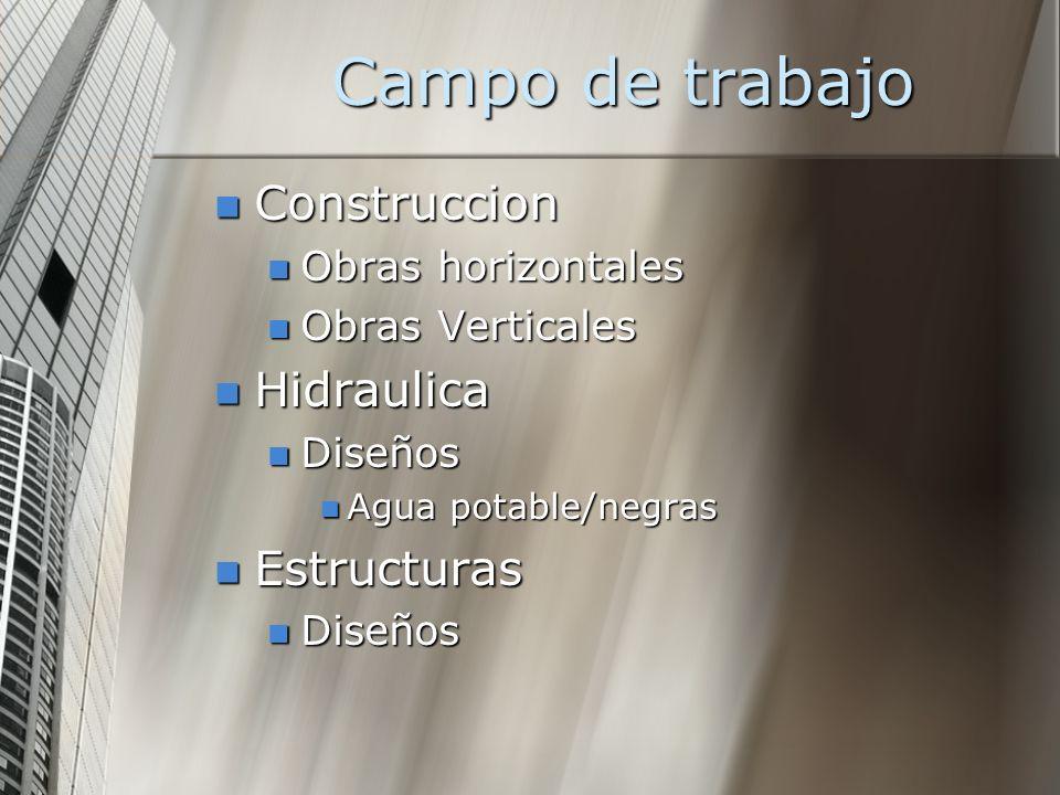 Campo de trabajo Construccion Hidraulica Estructuras