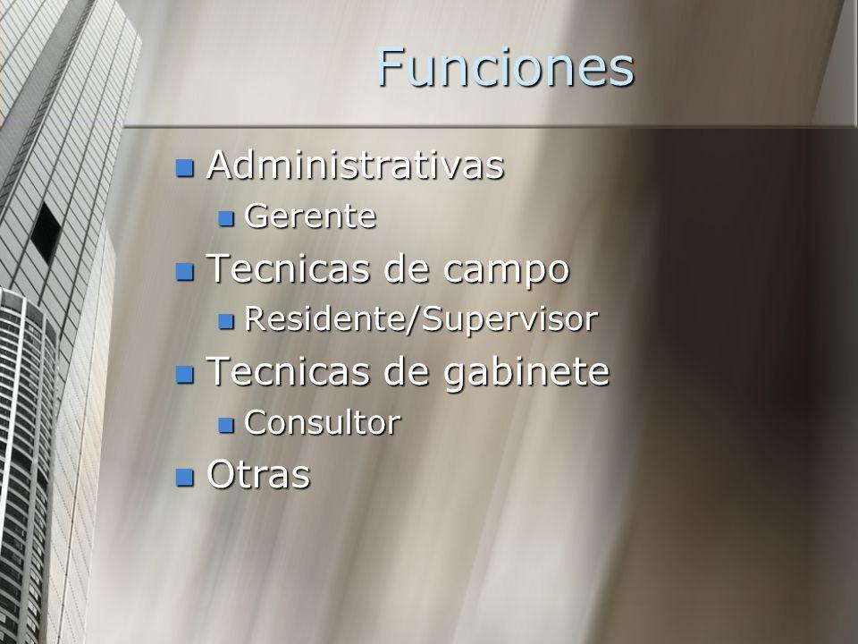 Funciones Administrativas Tecnicas de campo Tecnicas de gabinete Otras