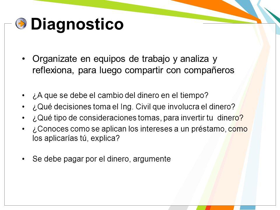 Diagnostico Organizate en equipos de trabajo y analiza y reflexiona, para luego compartir con compañeros.