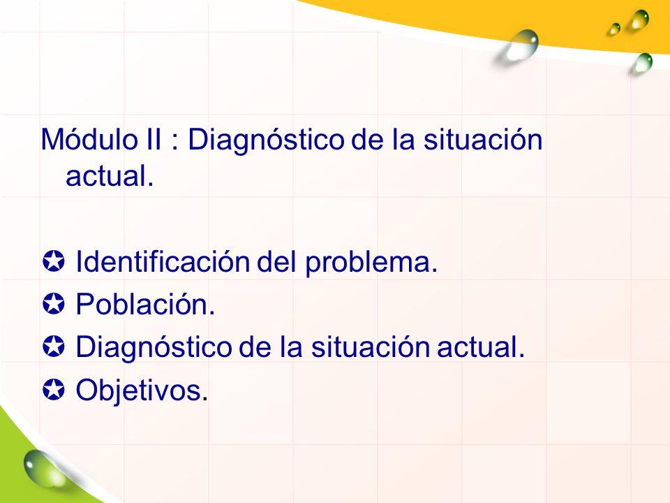 Módulo II : Diagnóstico de la situación actual.