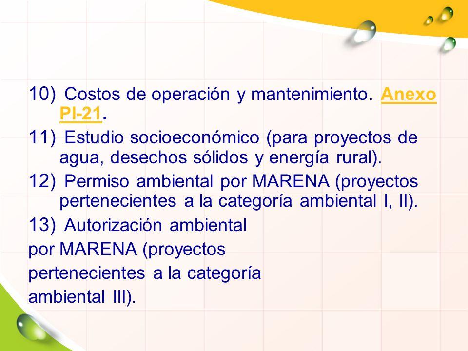 Costos de operación y mantenimiento. Anexo PI-21.