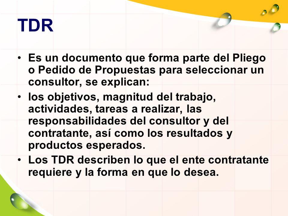 TDR Es un documento que forma parte del Pliego o Pedido de Propuestas para seleccionar un consultor, se explican: