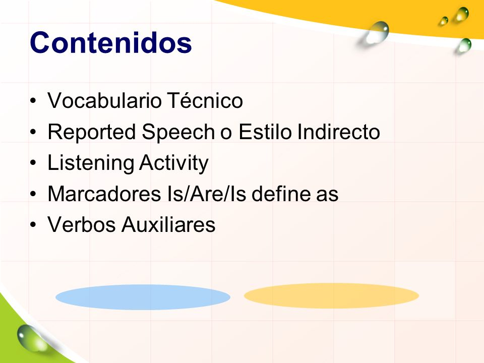 Contenidos Vocabulario Técnico Reported Speech o Estilo Indirecto
