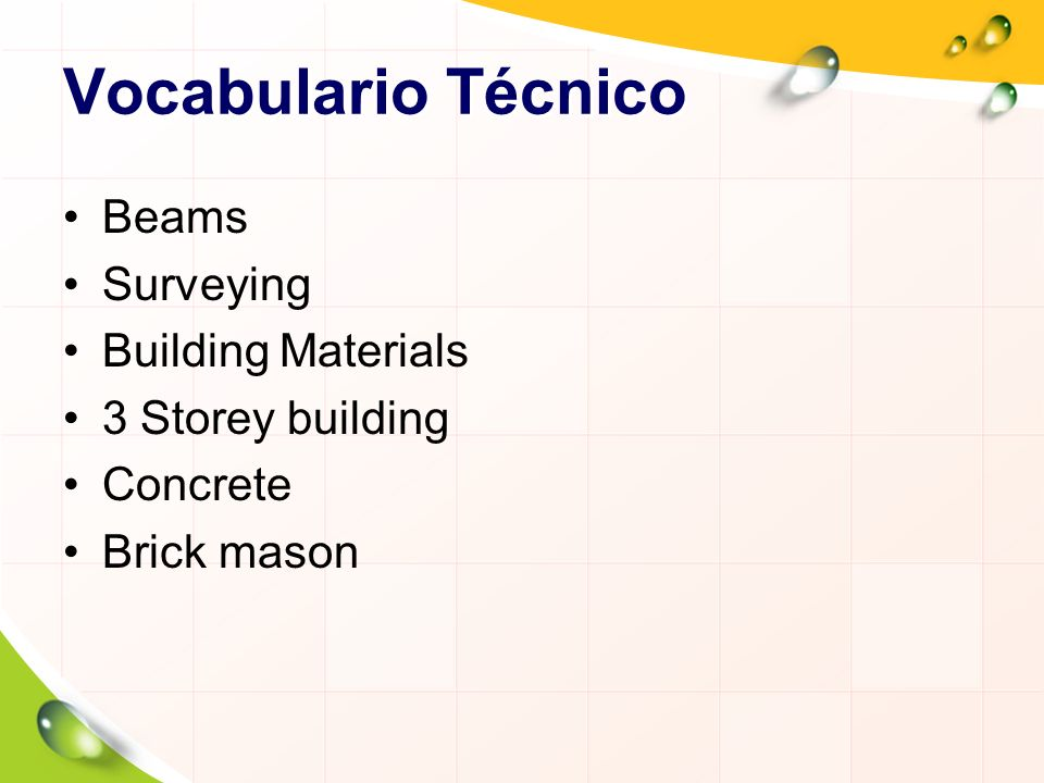 Vocabulario Técnico Beams Surveying Building Materials