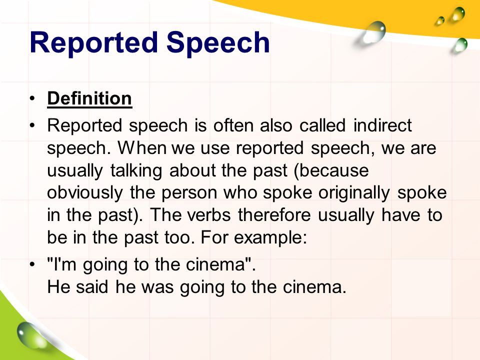 Reported Speech Definition