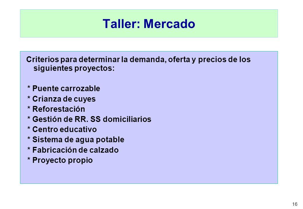 Taller: MercadoCriterios para determinar la demanda, oferta y precios de los siguientes proyectos: * Puente carrozable.