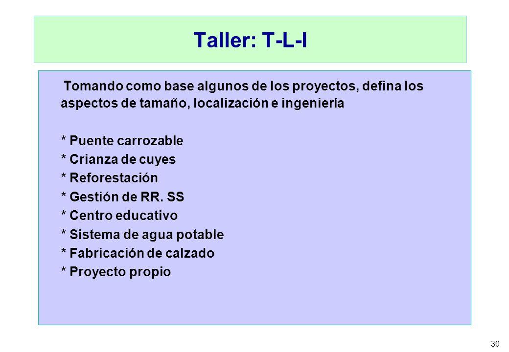 Taller: T-L-I Tomando como base algunos de los proyectos, defina los aspectos de tamaño, localización e ingeniería.