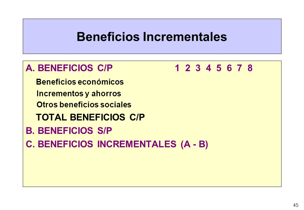 Beneficios Incrementales