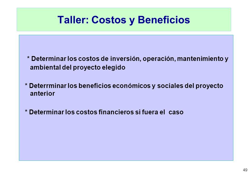 Taller: Costos y Beneficios