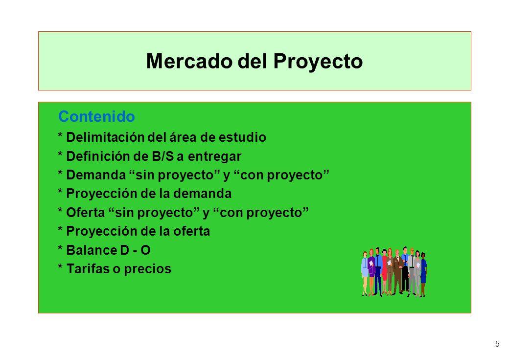Mercado del Proyecto Contenido * Delimitación del área de estudio