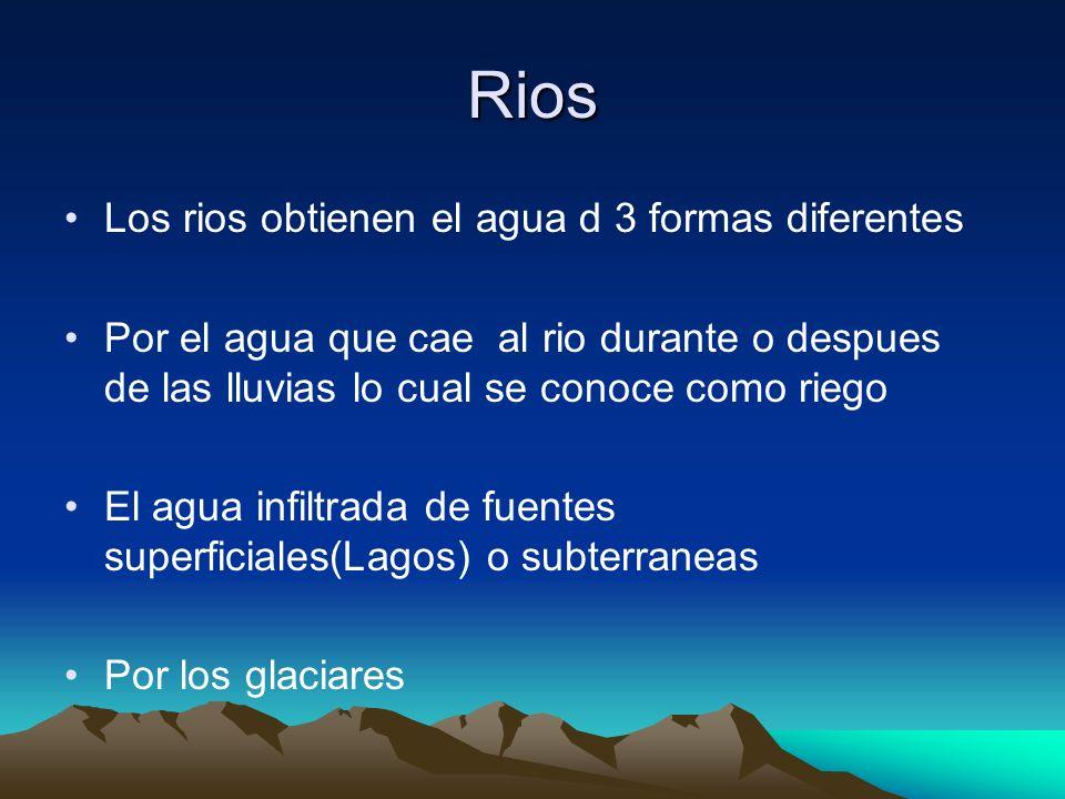 Rios Los rios obtienen el agua d 3 formas diferentes