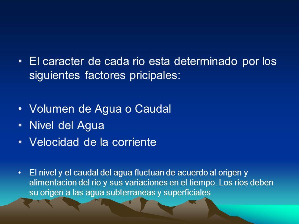 Volumen de Agua o Caudal Nivel del Agua Velocidad de la corriente
