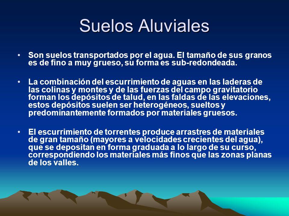 Suelos Aluviales Son suelos transportados por el agua. El tamaño de sus granos es de fino a muy grueso, su forma es sub-redondeada.