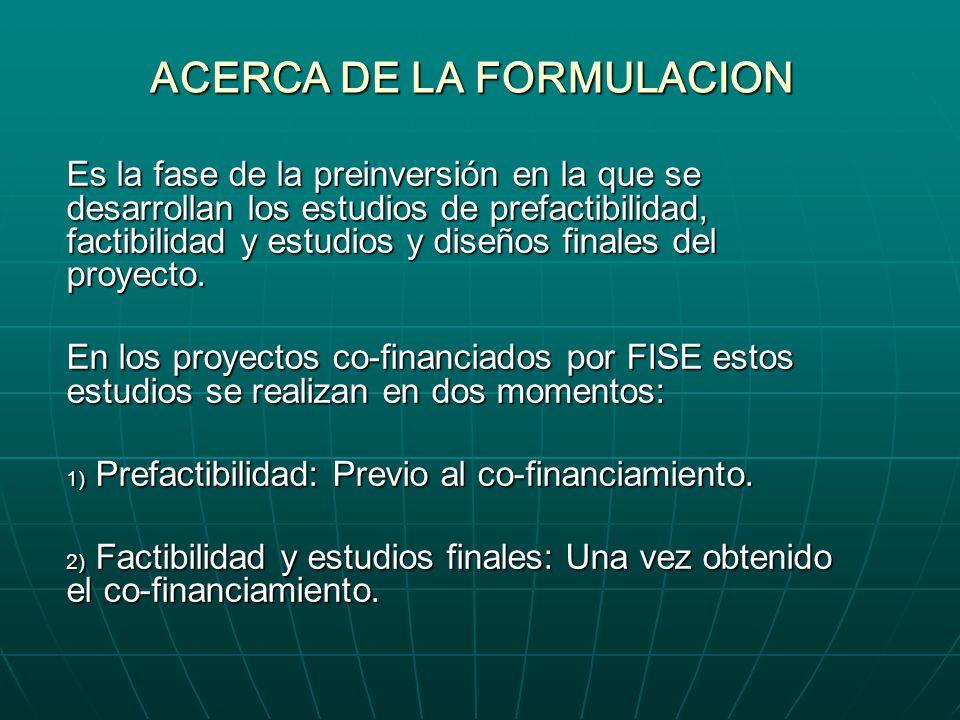 ACERCA DE LA FORMULACION