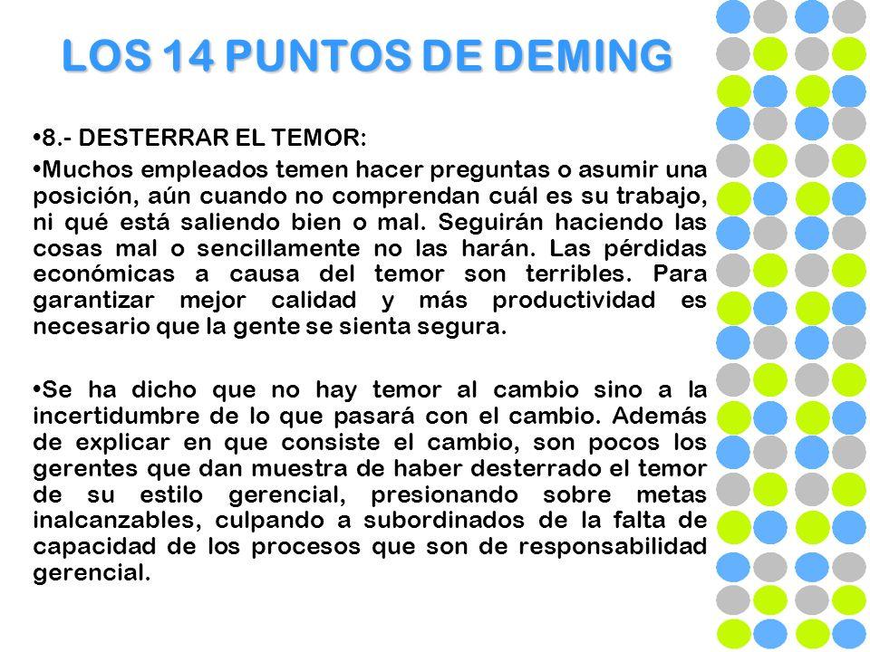 LOS 14 PUNTOS DE DEMING 8.- DESTERRAR EL TEMOR: