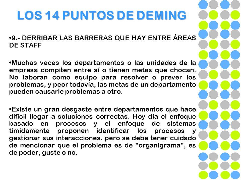 LOS 14 PUNTOS DE DEMING 9.- DERRIBAR LAS BARRERAS QUE HAY ENTRE ÁREAS DE STAFF.