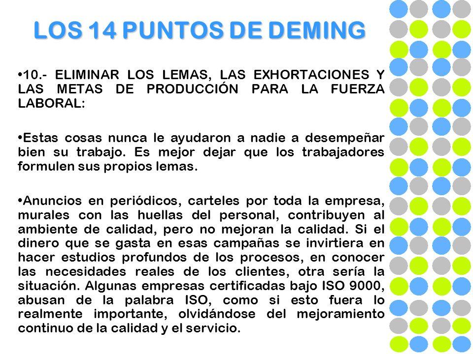 LOS 14 PUNTOS DE DEMING 10.- ELIMINAR LOS LEMAS, LAS EXHORTACIONES Y LAS METAS DE PRODUCCIÓN PARA LA FUERZA LABORAL: