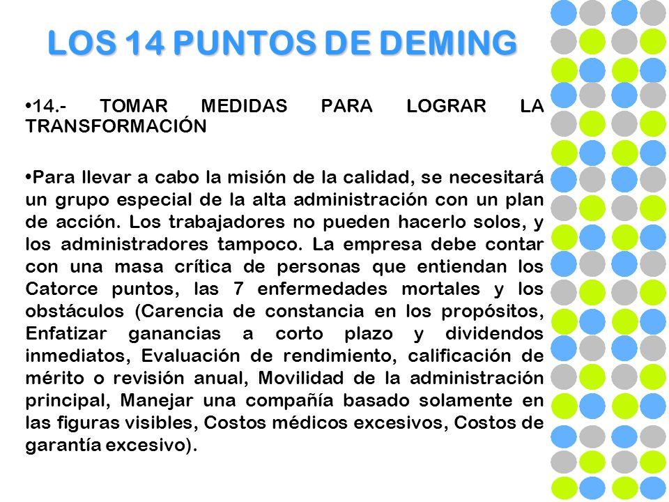 LOS 14 PUNTOS DE DEMING 14.- TOMAR MEDIDAS PARA LOGRAR LA TRANSFORMACIÓN.