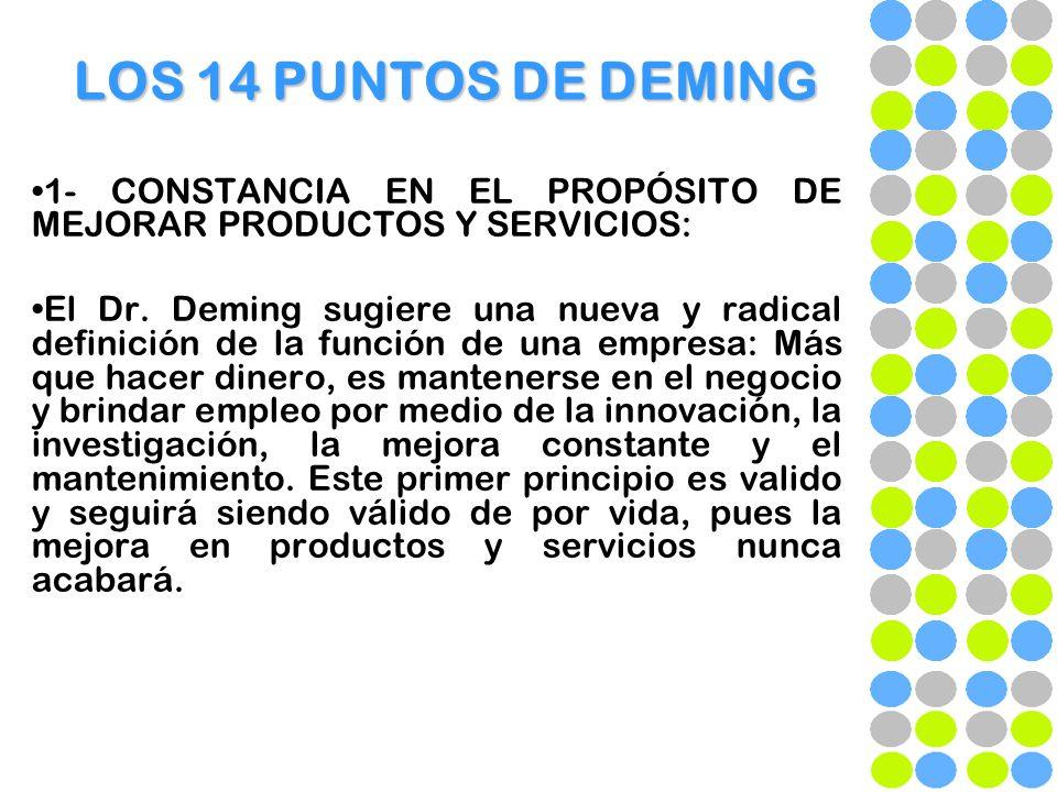 LOS 14 PUNTOS DE DEMING 1- CONSTANCIA EN EL PROPÓSITO DE MEJORAR PRODUCTOS Y SERVICIOS: