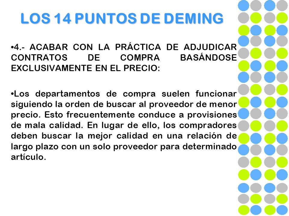 LOS 14 PUNTOS DE DEMING 4.- ACABAR CON LA PRÁCTICA DE ADJUDICAR CONTRATOS DE COMPRA BASÁNDOSE EXCLUSIVAMENTE EN EL PRECIO: