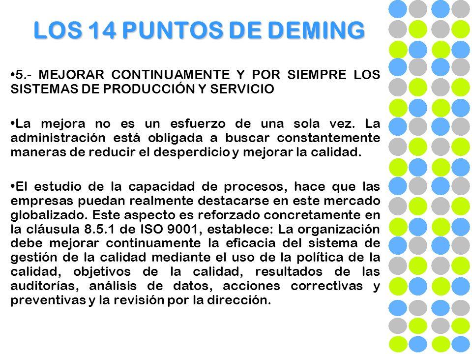 LOS 14 PUNTOS DE DEMING 5.- MEJORAR CONTINUAMENTE Y POR SIEMPRE LOS SISTEMAS DE PRODUCCIÓN Y SERVICIO.