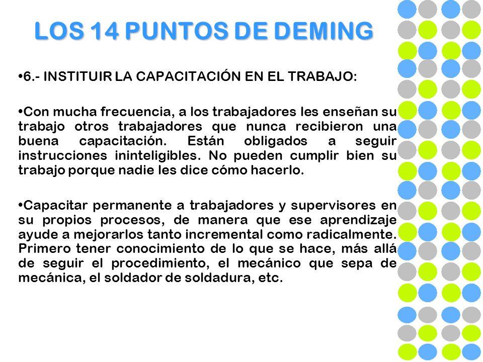 LOS 14 PUNTOS DE DEMING 6.- INSTITUIR LA CAPACITACIÓN EN EL TRABAJO: