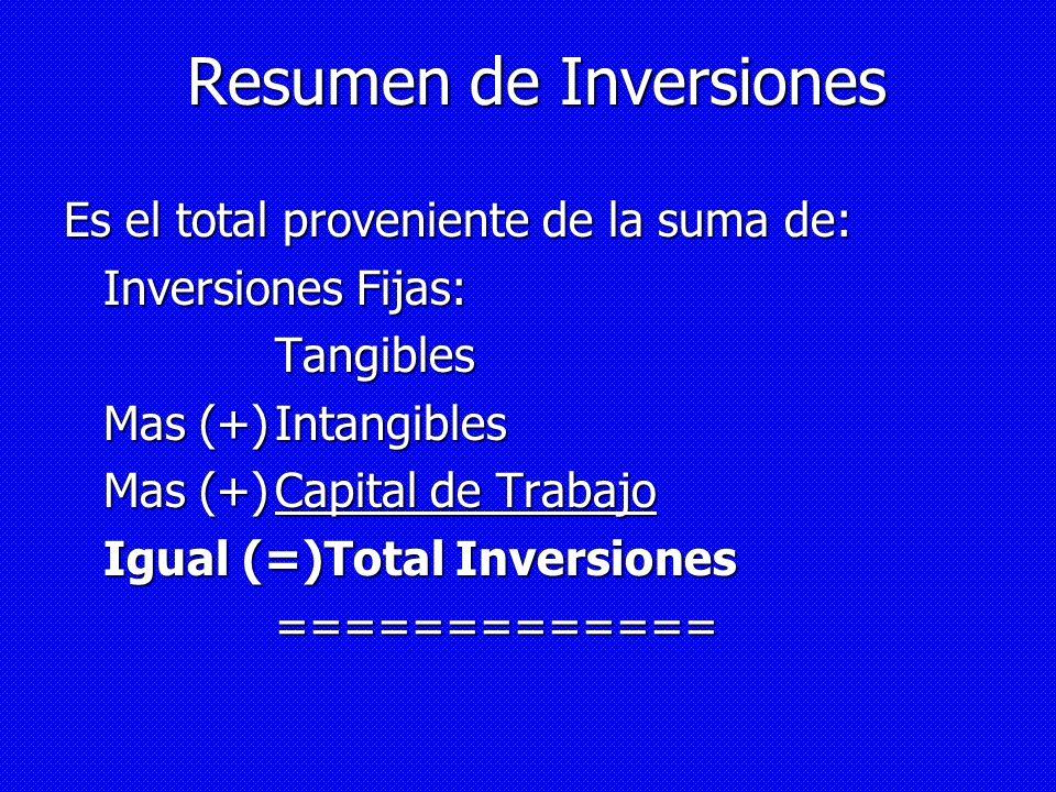Resumen de Inversiones