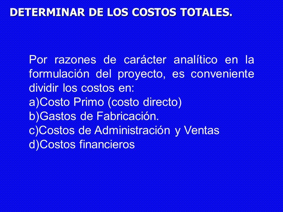 Costo Primo (costo directo) Gastos de Fabricación.