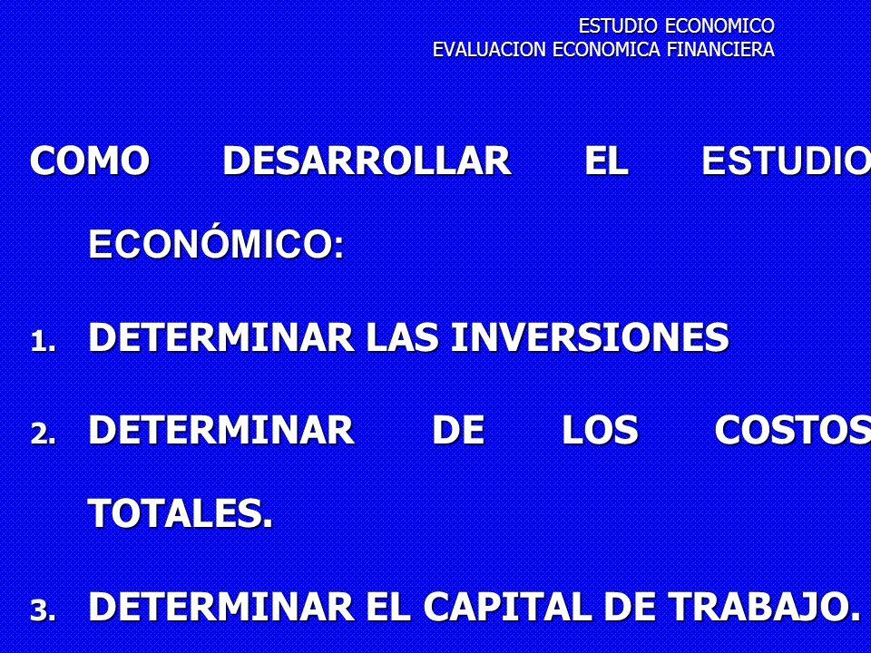 ESTUDIO ECONOMICO EVALUACION ECONOMICA FINANCIERA
