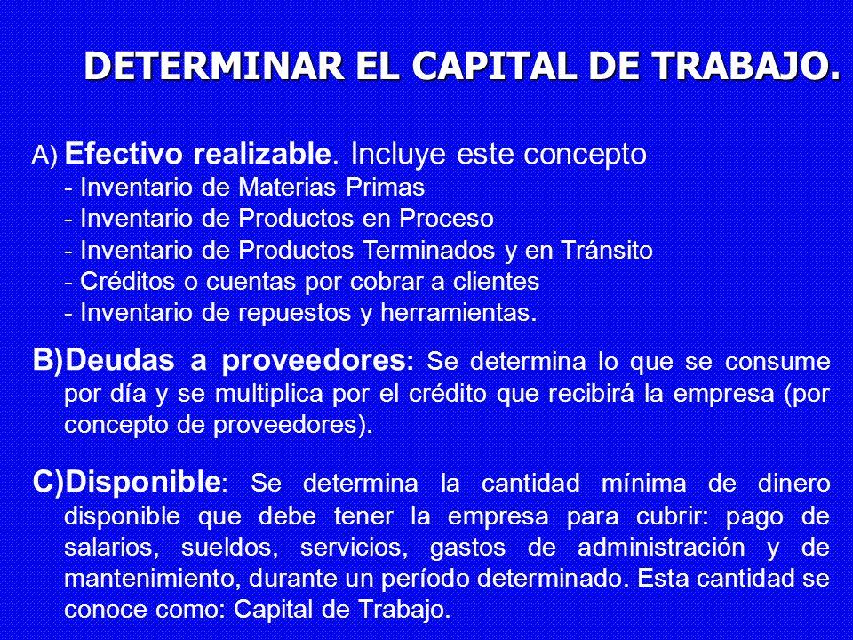 DETERMINAR EL CAPITAL DE TRABAJO.