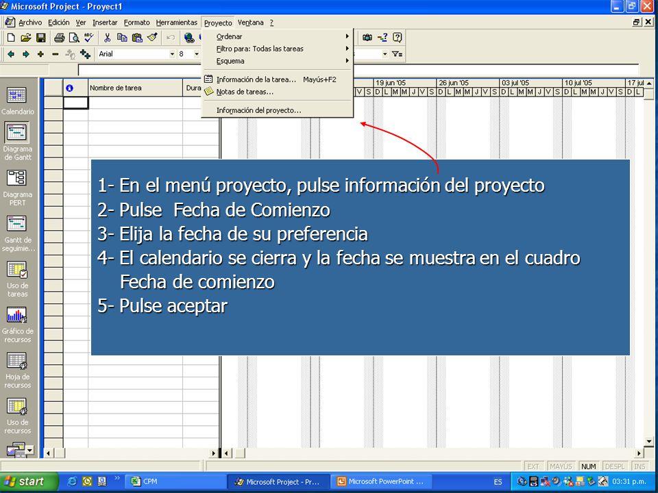 1- En el menú proyecto, pulse información del proyecto