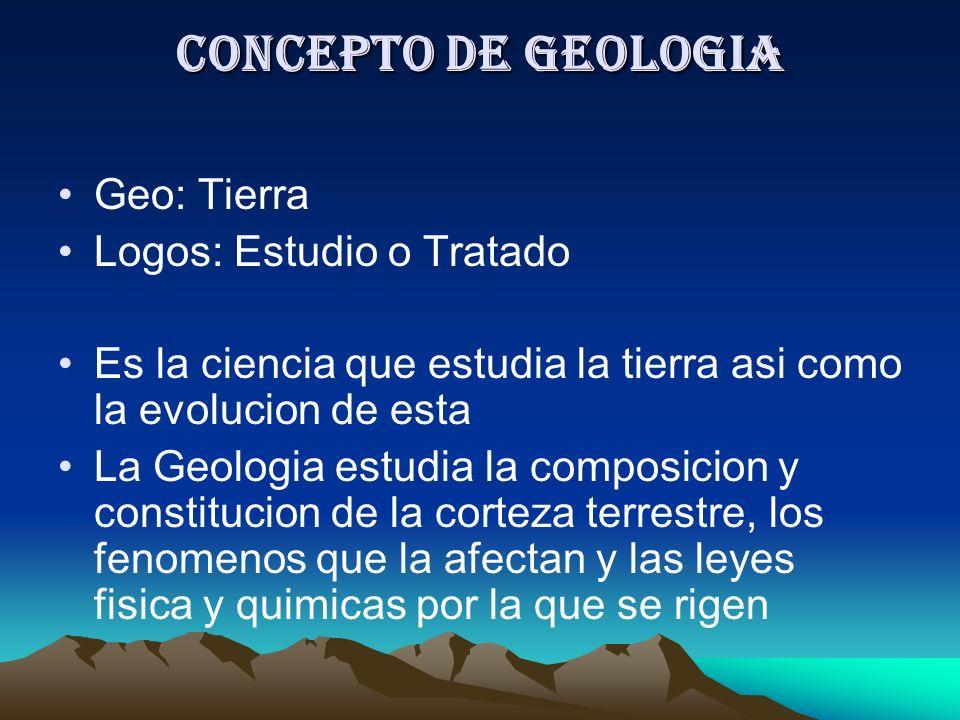 Concepto de Geologia Geo: Tierra Logos: Estudio o Tratado