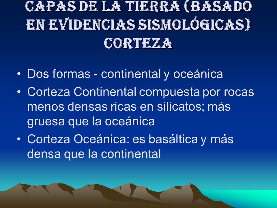 Capas de la Tierra (basado en evidencias Sismológicas) CORTEZA