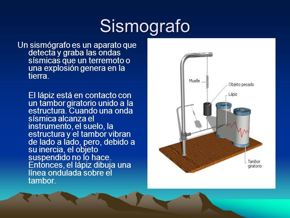 Sismografo Un sismógrafo es un aparato que detecta y graba las ondas sísmicas que un terremoto o una explosión genera en la tierra.