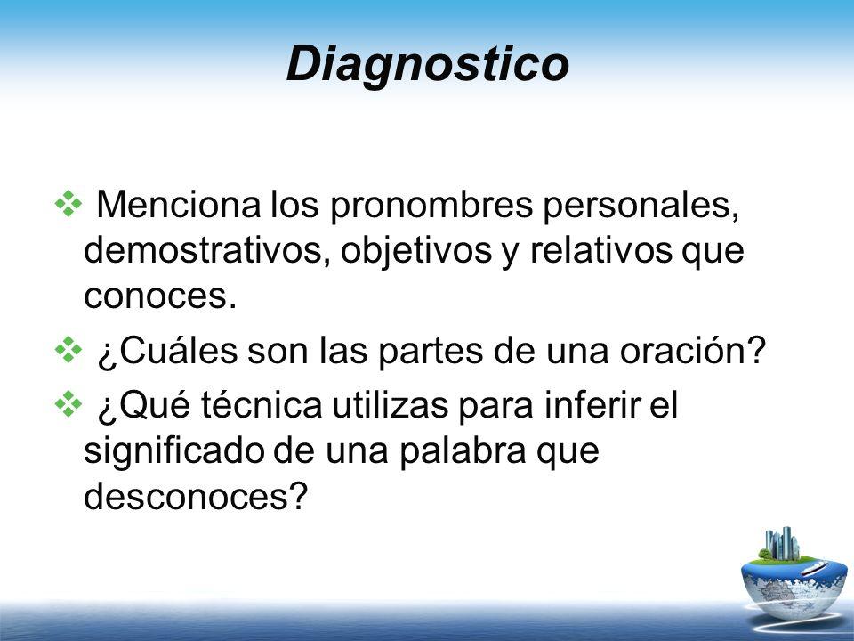 Diagnostico Menciona los pronombres personales, demostrativos, objetivos y relativos que conoces. ¿Cuáles son las partes de una oración
