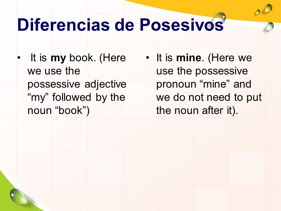 Diferencias de Posesivos