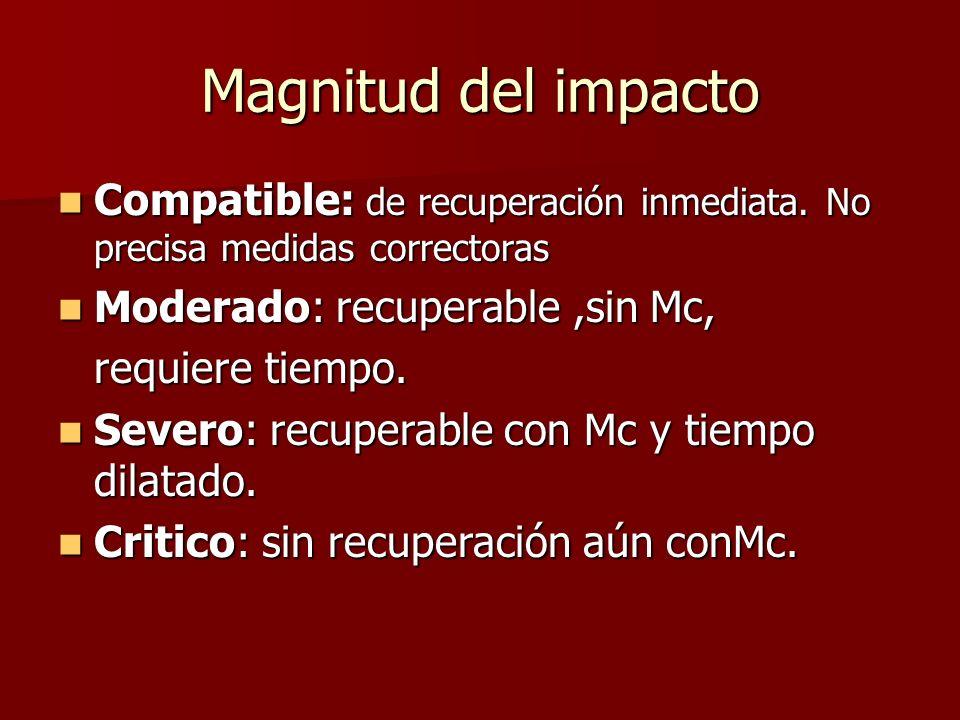 Magnitud del impacto Compatible: de recuperación inmediata. No precisa medidas correctoras. Moderado: recuperable ,sin Mc,